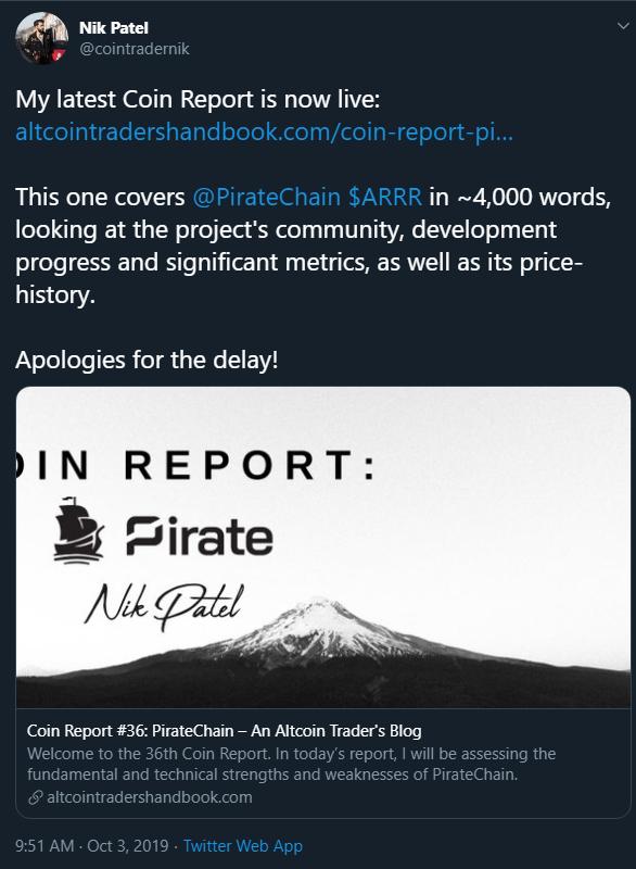 Nik Patel Coin Report